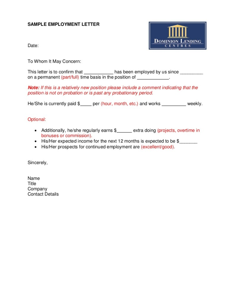 employment offer letter ontario sample documents tekamar mortgages 17415 | Employment Letter Sample 790x1024